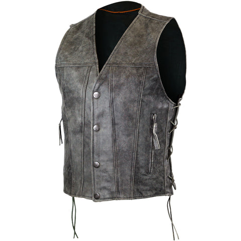 Men's Distressed Grey Gambler Patch holder Leather Vest with single panel back