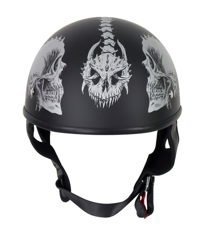 Motorcycle Riding Grey Flat DOT Approved with Grey Horned Skeletons