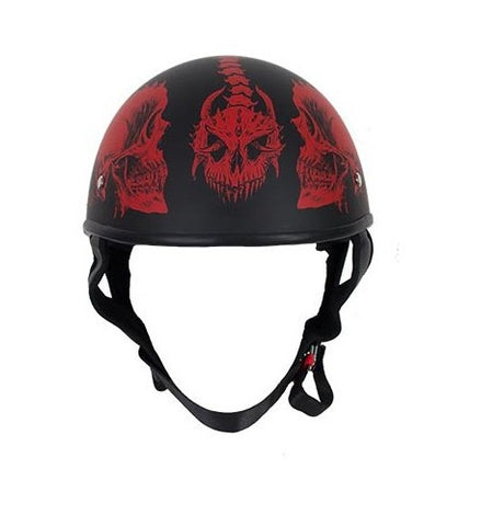 Motorcycle Riding Blk Flat DOT Approved with Red Horned Skeletons