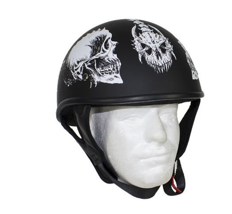 Motorcycle Riding Blk Flat DOT Approved with White Horned Skeletons