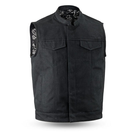 Men's Motorcycle Collar Raw Canvas Heavy Hitter Preacher Higland Vest
