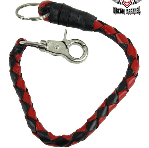 "Motorcycle 14"" Blk & Red old school get back Real Leather whip with Key Chain"