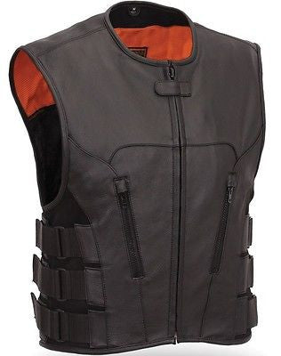 Men's Biker Updated SWAT Team Style Leather Motorcycle Vest