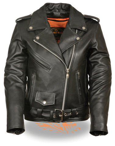 Women's Motorcycle Classic old school police style leather jacket with Gun pockets