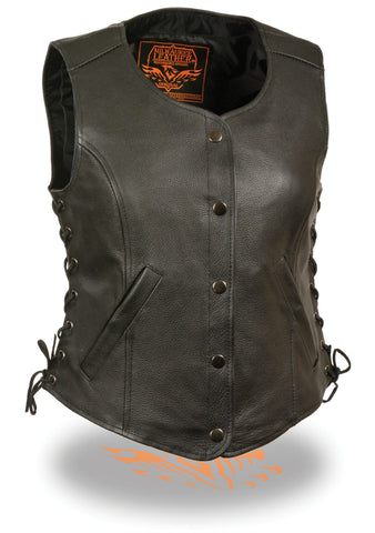 Motorcycle Classic Ladies Leather vest with Side laces and 2 Gun pockets