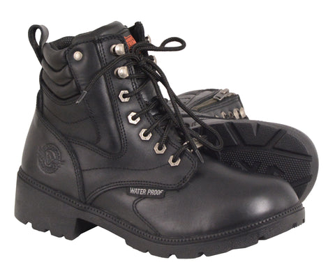 Motorbike women's Waterproof Side zipper plain toe leather boot