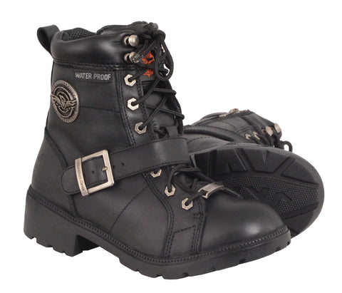 Motorbike women's Waterproof Side Buckle leather boot with plain toe