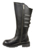 Women's Motorcycle Leather 15 inch High Rise Leather Boot with 4 Calf Buckles
