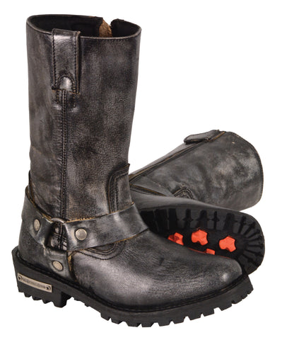 Womens Motorcycle Distressed Grey Leather 11 inch classic Boot with Side Zipper
