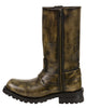 Men's Motorcycle riders Distressed Brn 11 inch Toe Leather Boot