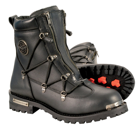 Men's Waterproof Genuine Twin Zipper front entry leather boot with round toe