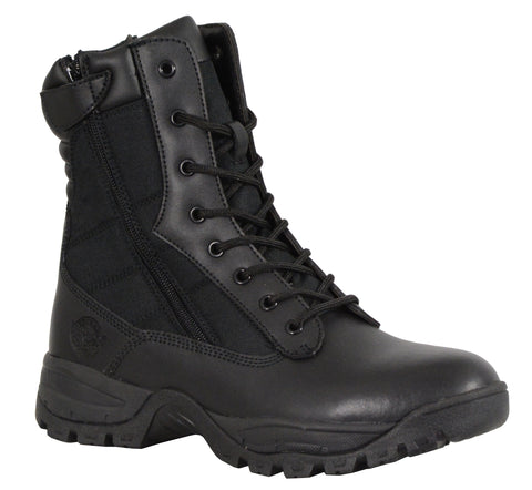 "Men's Riding 9"" Blk Leather Nylon tactical boot with side zipper"