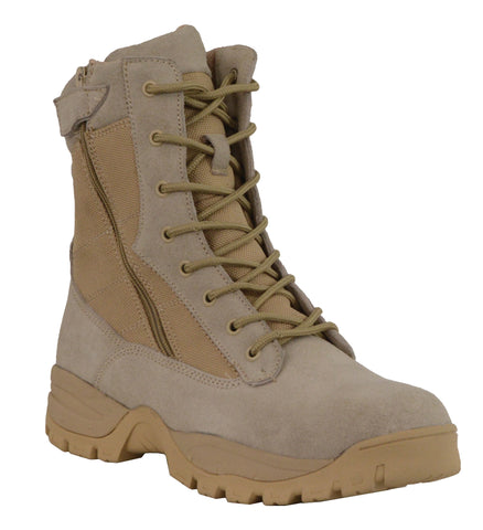 "Men's Riding 9"" Sand color Leather Nylon tactical boot with side zipper"