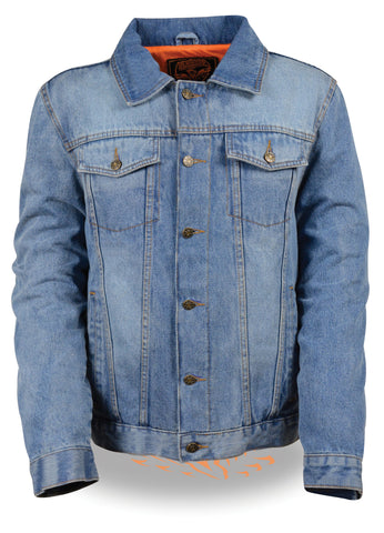 Men's Classic Denim Jean pocket shirt collar blue jacket with 2 Gun pockets