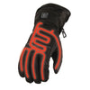 Mens Biker Touch Screen Heated Guantlet Leather Gloves for cold weather Reflective