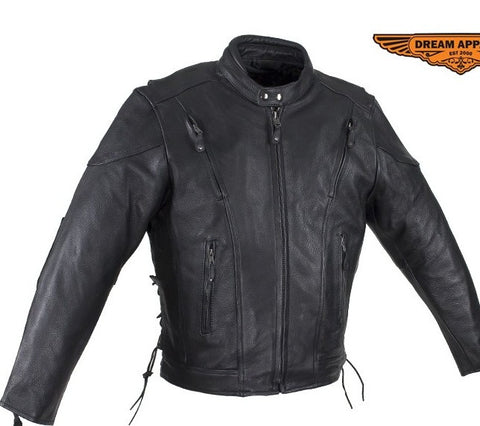Men's Motorcycle scoter side lace leather jacket with kidney padding back