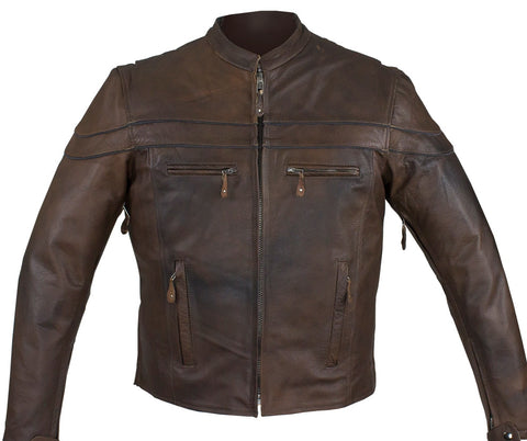 Men's Motorcycle Retro Brn Scoter Reflective Leather jacket with 2 Gun pockets