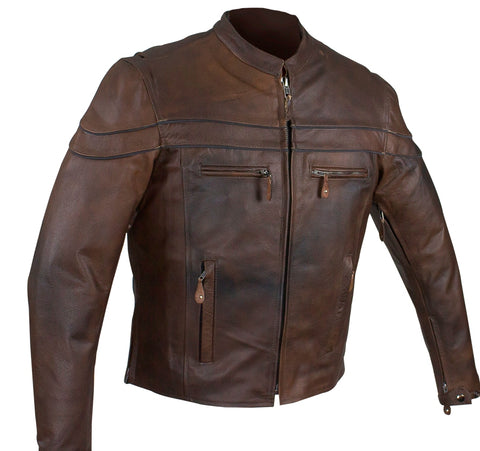 MEN'S MOTORCYCLE RETRO BROWN SCOOTER JACKET WITH ZIP OUT LINER  VERY SOFT