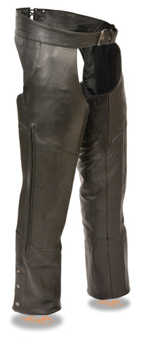 Men's Motorcycle Riding Blk Vented leather chap with Stretch Thighs