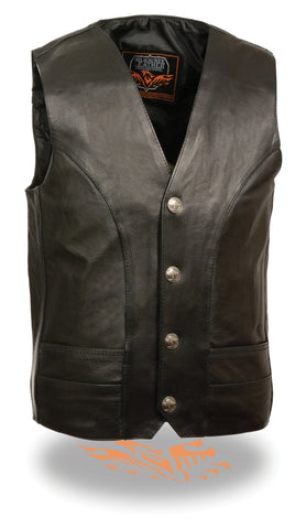 Men's Motorcycle Classic Buffalo Nickle Leather Vest W/2 Gun pockets