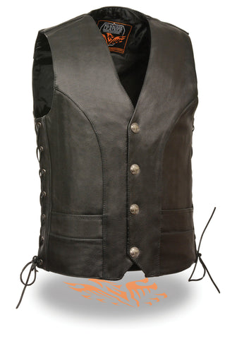 Men's Motorcycle Classic Buffalo Nickle Side Lace Leather Vest W/2 Gun pockets