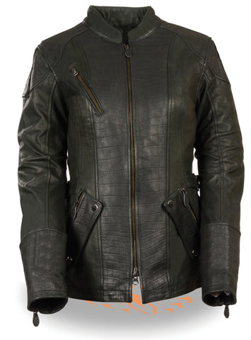 WOMEN'S MOTORCYCLE RIDING BLK LEATHER EMBOSSED PRINT JACKET WITH 2 GUN POCKETS