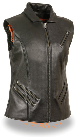 Women's Motorcycle Extra Long zipper leather vest w/2 Gun pockets
