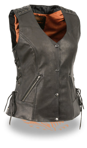 Motorcycle Women's Lightweight Lace to lace snap front vest with 2 Gun pockets