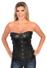 Women's blk sexy bustier leather hook eye corset with Side lacing