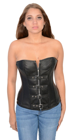 Women's Blk Sexy Bustier Leather Corset Front zipper & Buckle front