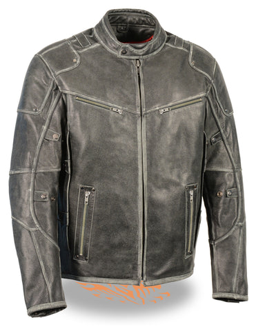 Men's Motorcycle Vintage Distressed Vented Leather jacket with 2 Gun pockets