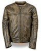 MEN'S MOTORCYCLE DISTRESSED BROWN SPORTY SCOOTER JACKET W/2 GUN POCKETS NAKED