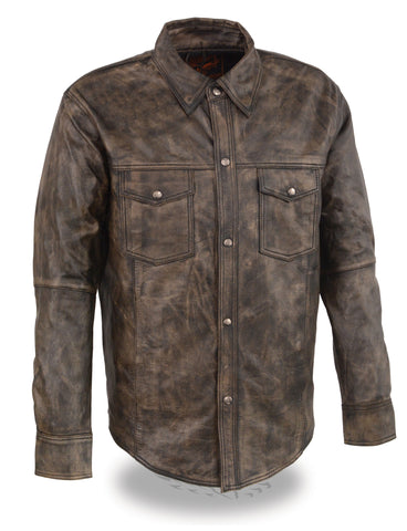 Men's Light weight distressed brn leather shirt with 2 Gun pockets inside