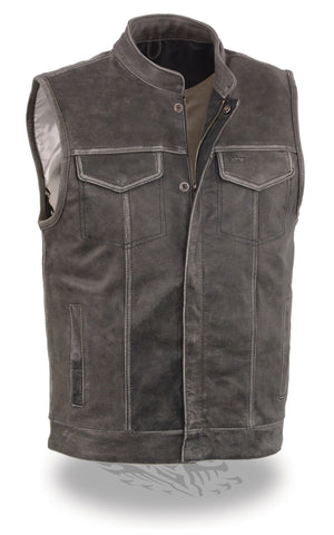 Men's Son of anarcy Distressed Grey motorcycle club leather vest with Gun pockets