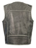Men's Motorcycle Vintage Distressed Grey Zipper Front Leather Vest