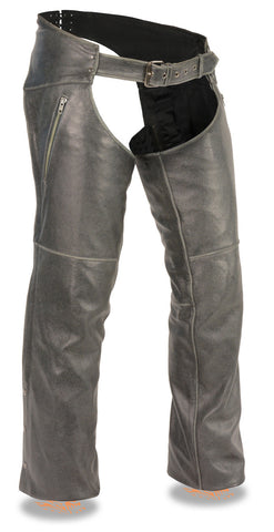 Men's Motorcycle Vintage Distressed Slate Chap with Thigh Zippered Pockets