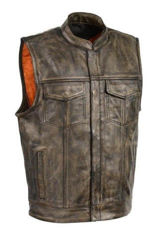 Mens Biker Riding Son of anarcy patch holder distressed Brn Leather Vest 2 Gun pockets