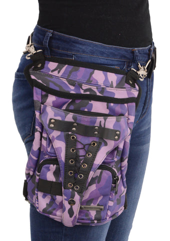 Motorcycle womens Purple Camo Conceal Carry Thigh Leather waist Belt Riding Bag