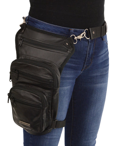 Motorcycle womens Riding Blk Fancy Conceal & Carry Thigh Leather waist belt Riding Bag