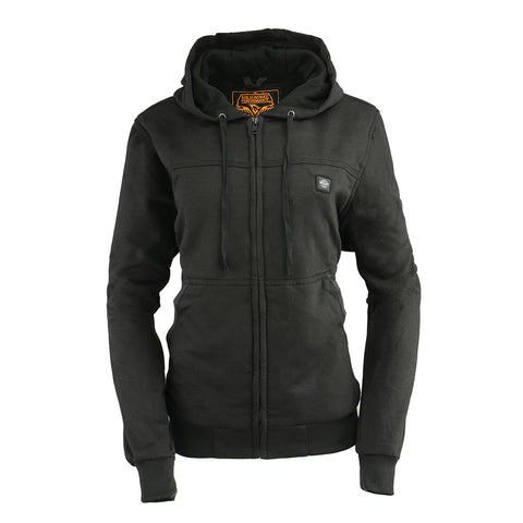 Ladies Motorcycle Biker Heated Blk Hoodie Jacket with chargeable battery Light Weight