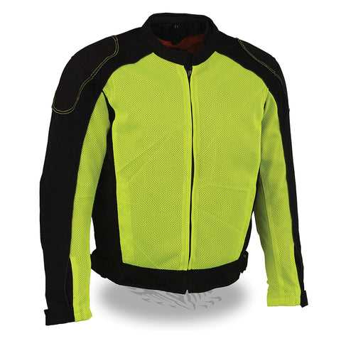Mens Motorcycle High Visibility Mesh Racer Jacket with removable rain Jacket Liner and armors