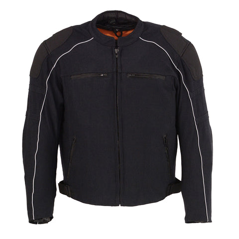 Mens Motorcycle Mesh Racer Jacket Blk with removable rain Jacket Liner and armors