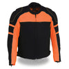 Mens Motorcycle Mesh Racer Jacket Blk Orange with removable rain Jacket Liner 2 Gun pockets
