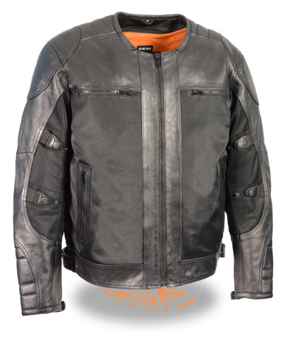 Men's Motorcycle Textile Mesh Combo Leather Jacket with Armors