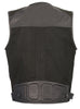 MEN'S LEATHER & CANVAS ZIPPER FRONT SUPER UTILITY MULTI POCKET VEST