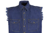 MEN'S MOTORCYCLE BLUE COTTON HALF SLEEVE CUT OFF SHIRT WITH FRAYED SLEEVES