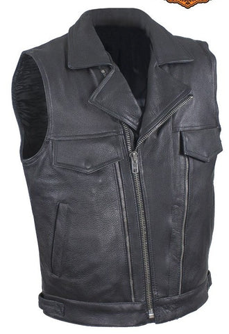 Men's Motorcycle Double Pistol pete Utility style Leather Vest with 2 Chest pockets