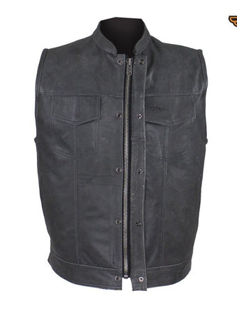 Men's Motorcycle riding Son of anarcy distressed leather vest with 2 Gun Pockets