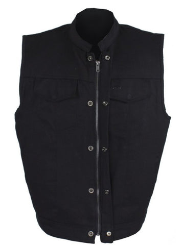Men's Son of anarcy blk denim motorcycle vest with 2 Gun pockets inside