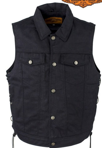 Men's Motorcycle Blk 8 Pocket denim shirt collar vest with side laces
